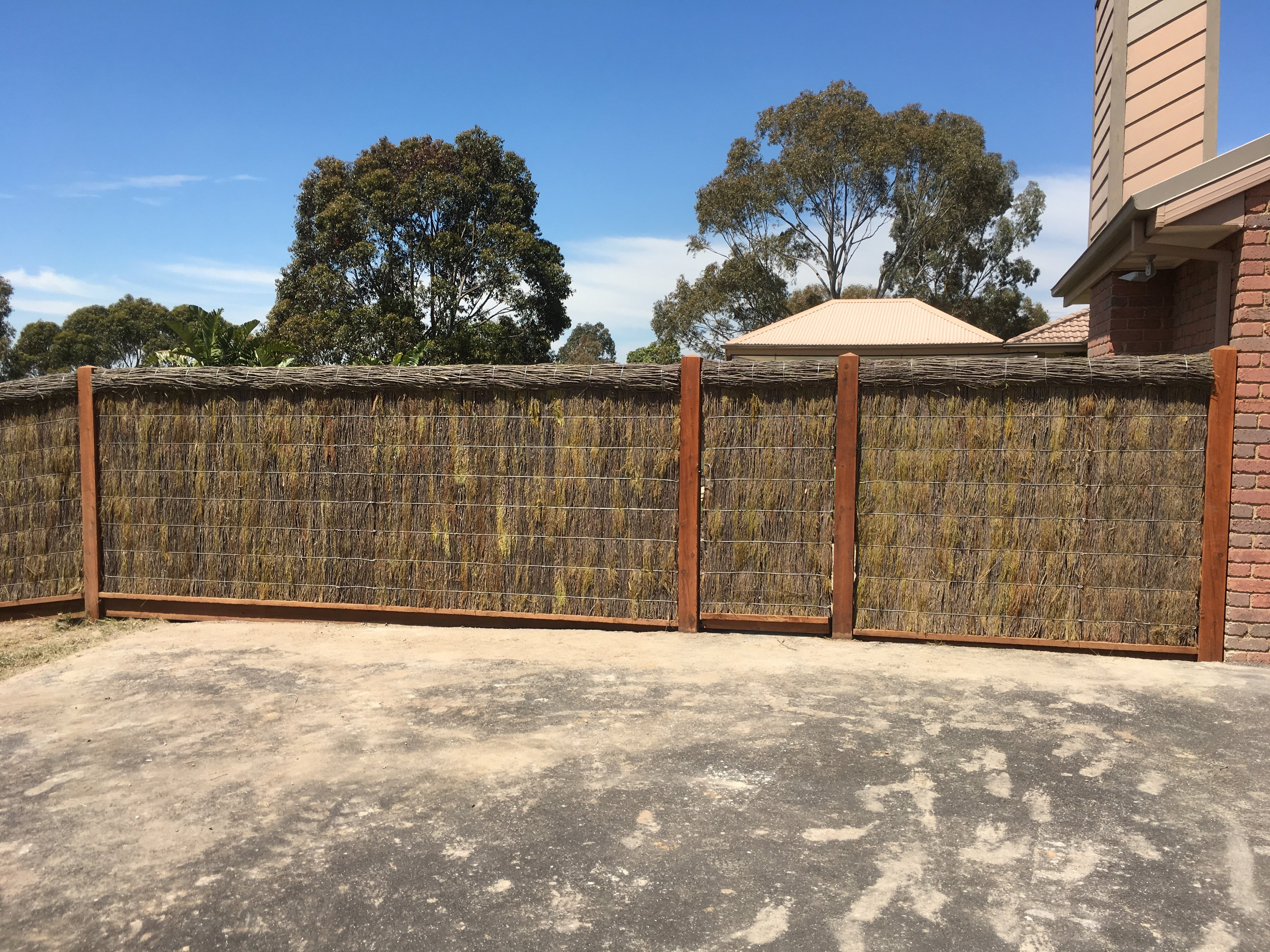 Some of our brush fencing on the Mornington Peninsula