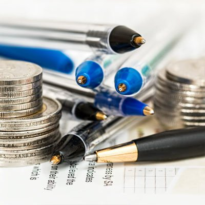 pens and coins for your taxes