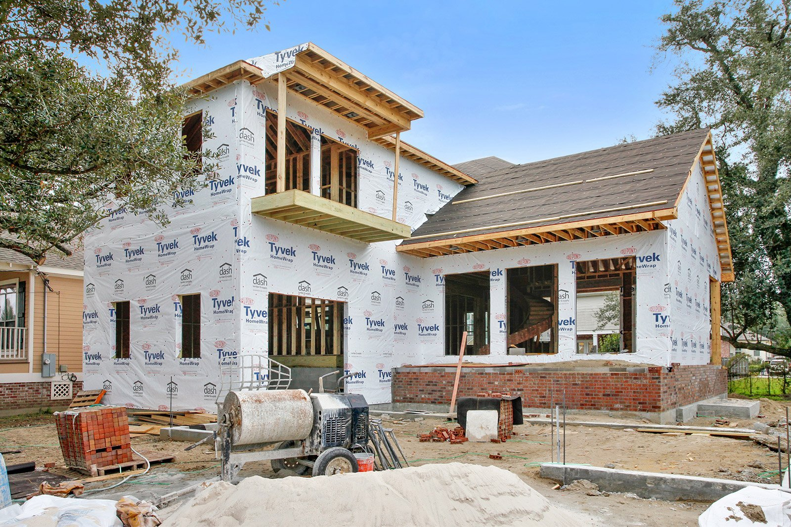 Exterior of a home being built