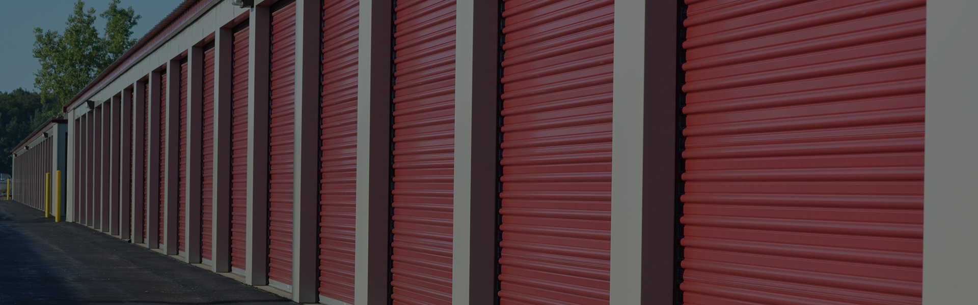 closed storage spaces with red shutters