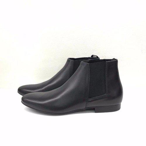 scarponcini neri di pelle da donna
