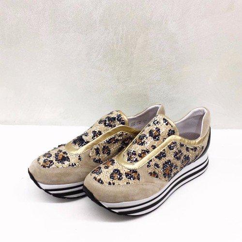 scarpe leopardate oro