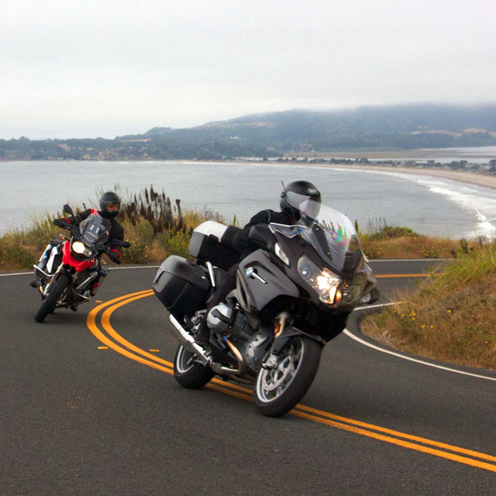 Motorcycle Rental in California - racers with BMW bikes in Hwy 1, Sq 2