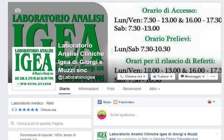Pagina Facebook Laboratorio Analisi cliniche Igea Rieti