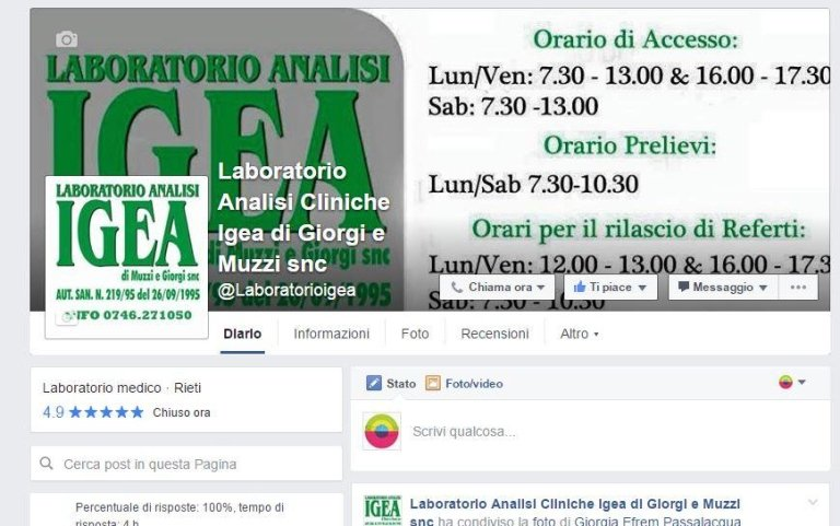 Pagina Facebook Laboratorio Analisi cliniche Igea Rieti