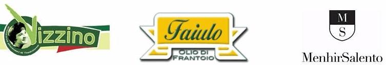 un'immagine con tre loghi di marche importanti di olio, Vizzino, Faiulo Olio Di Frantoio e Menhir Salento