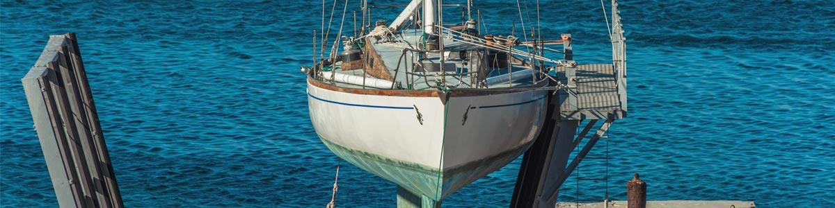 booker bay marina yacht on a slipway