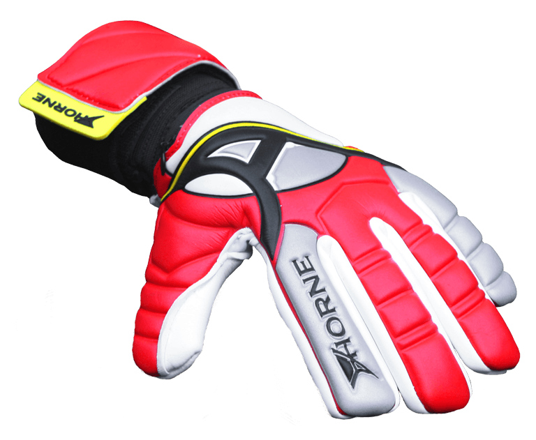 big red and yellow goalkeeper gloves