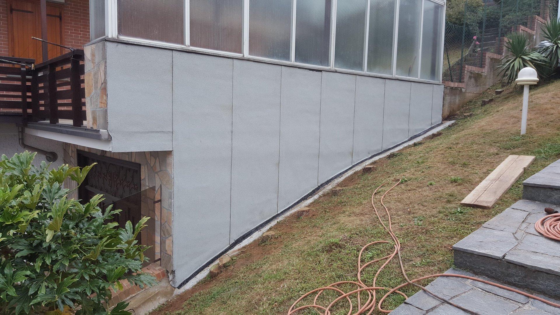 parete di un edificio impermeabilizzata