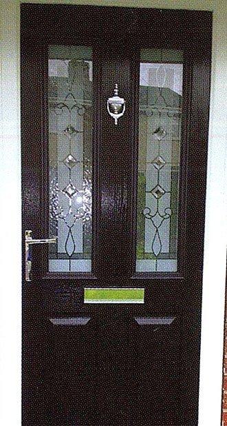 Traditional leaded glass composite door in brown