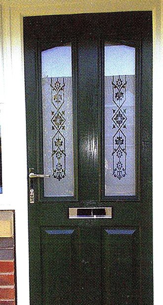 Victorian etched glass style composite door in green