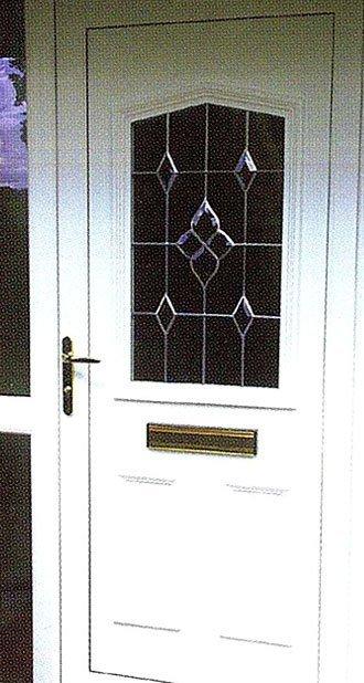 Leaded glass composite door in white