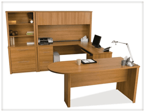 A wooden desk and storage unit