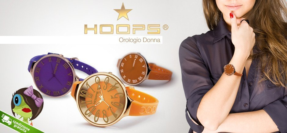 una donna degli orologi della marca Hoops