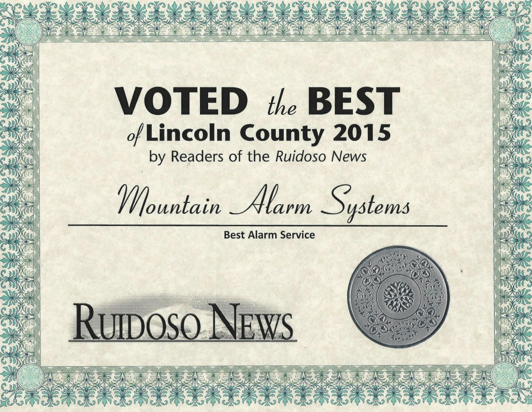 Voted the best of Licoln County award