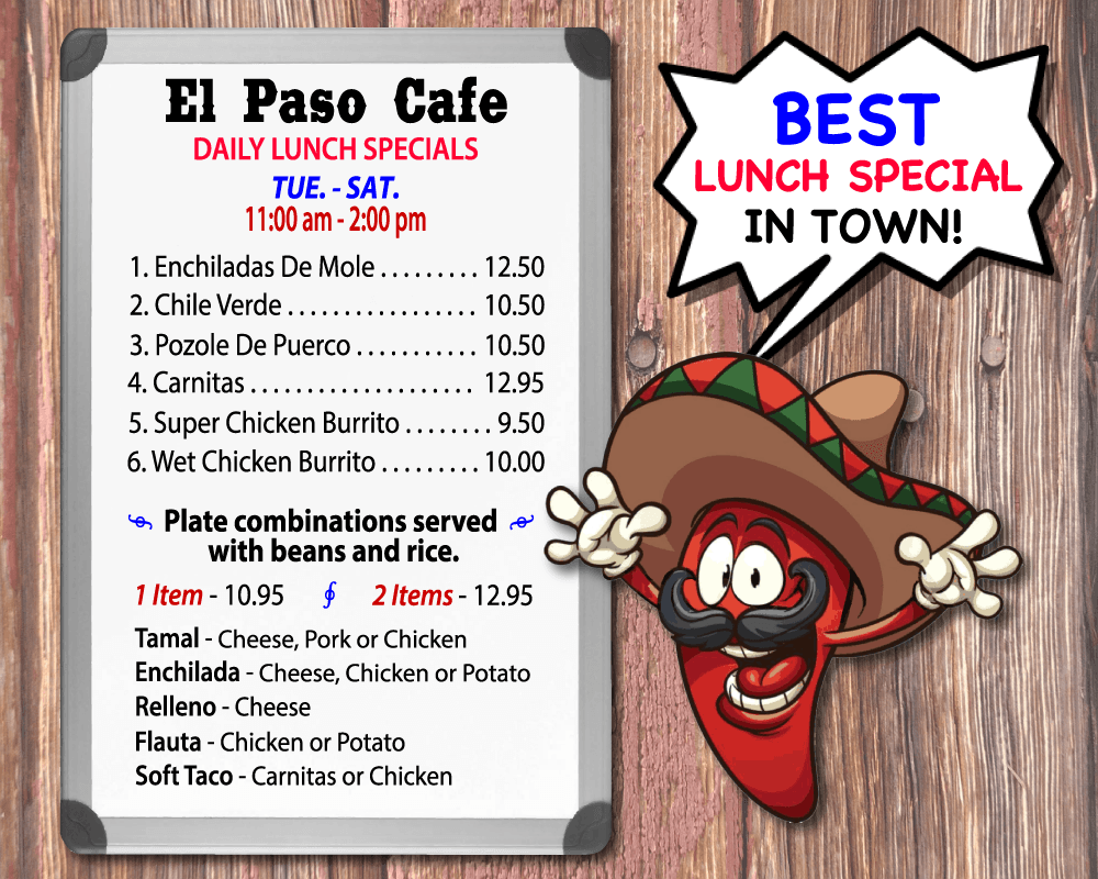 Best Mexican Restaurants Lunch Specials El Paso Cafe 9404