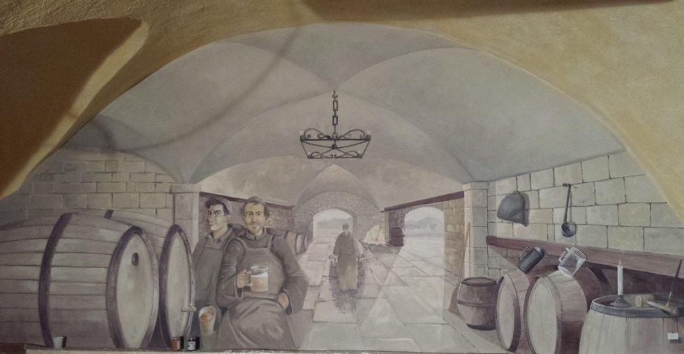 decorazione su muro trompe oeil