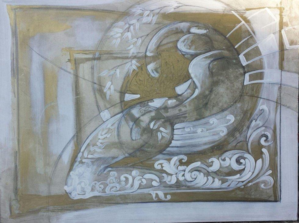 quadro con finiture in resina