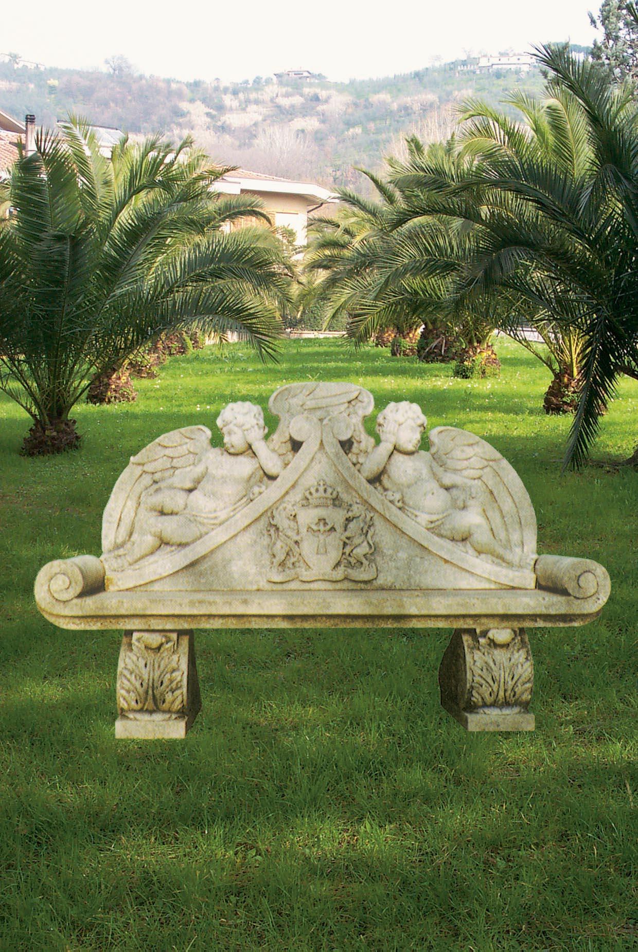 Perfect panca da giardino neoclassica in pietra with statue da giardino - Fontane da giardino usate ...