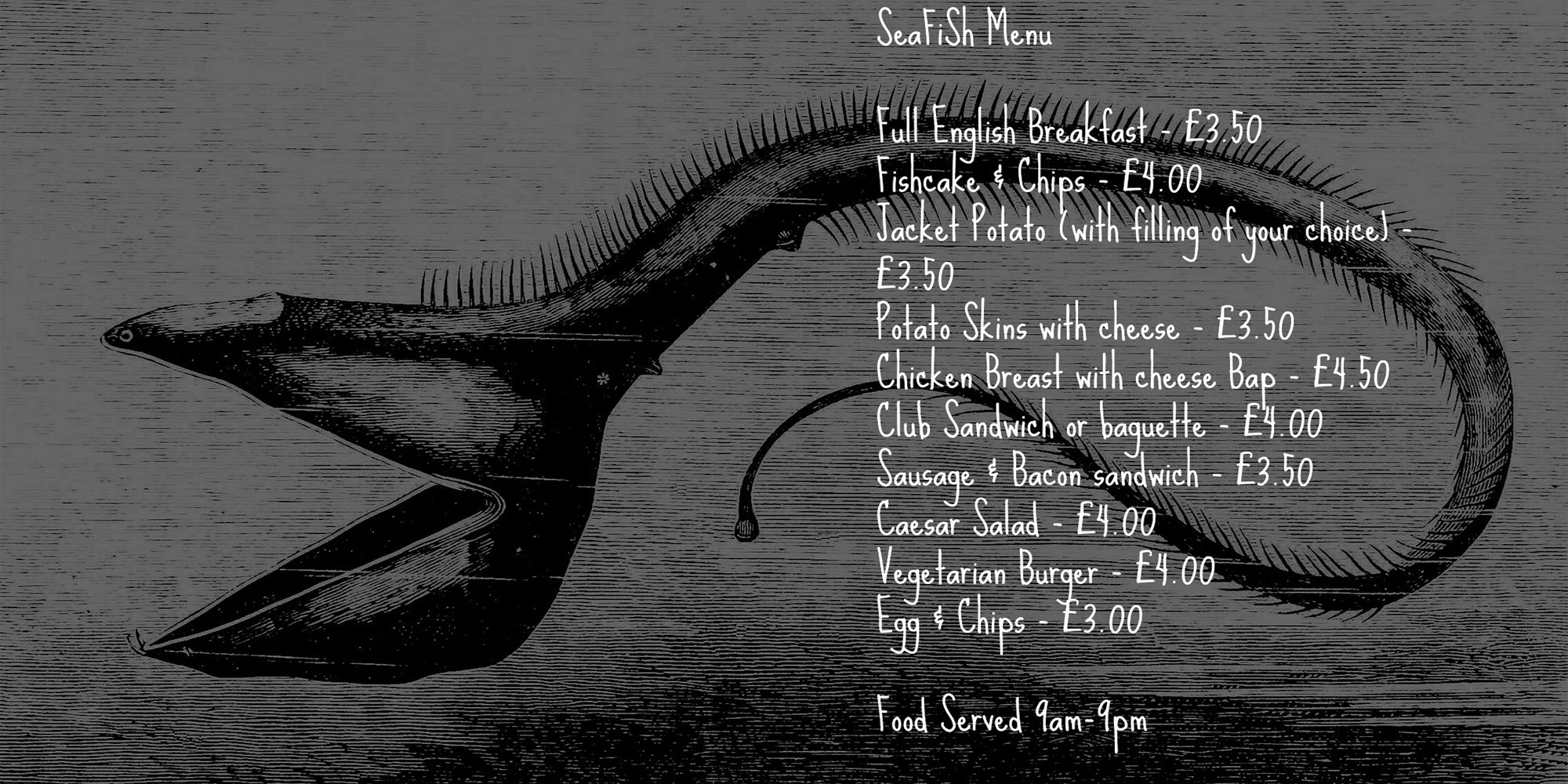SeaFiSh Cafe Bar Venue food menu