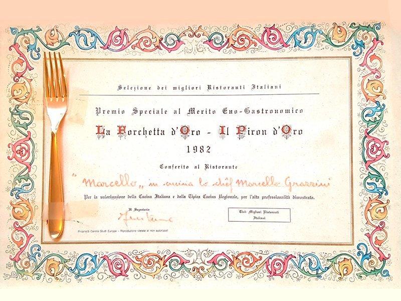 Premio Forchetta d'Oro 1982 conferito al Ristorante Marcello