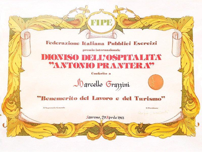 Premio della Federazione Italiana Pubblici Esercizi a Marcello Grazzini