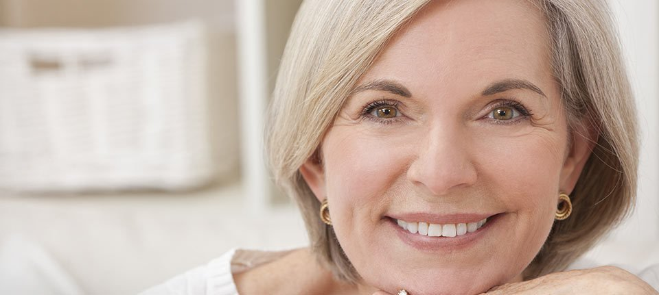 A smiling mature lady with beautiful teeth