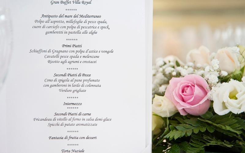Menù personalizzati per matrimoni, Napoli, Caserta