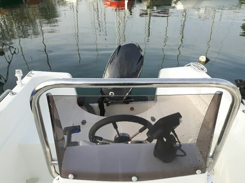 The helm and engine of a boat
