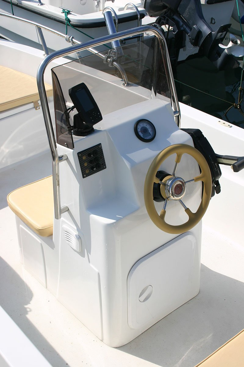 The helm of a boat