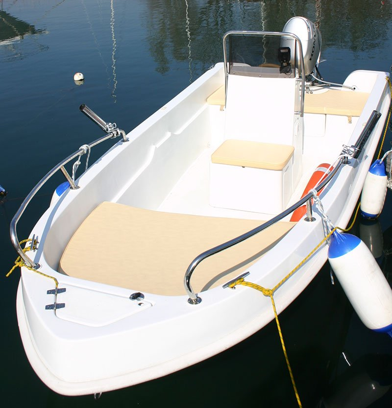 White and beige boat