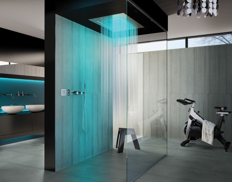 una cabina doccia con l'acqua che scende dal soffitto e delle luci azzurri accese