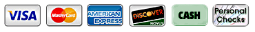 Payment Icons - Visa, MasterCard, American Express, Discover, Cash, Check