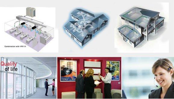 modellini di case con impianti di climatizzazione