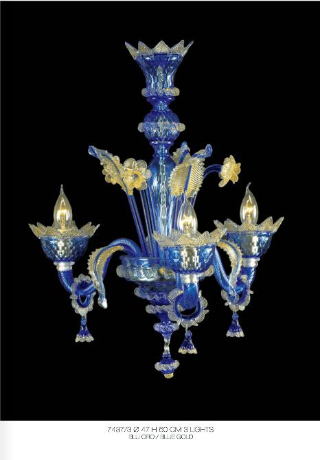 Lampadario Murano Blue Gold