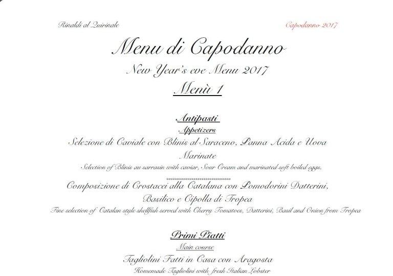 rinaldi roma quirinale menu di capodanno