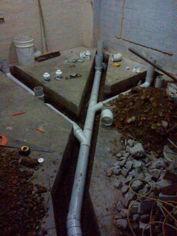 View of reliable plumbing work in progress