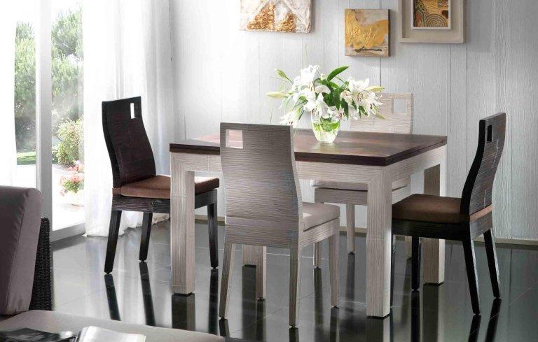 tavolo con un vaso di fiori sopra e sedie in stile moderno