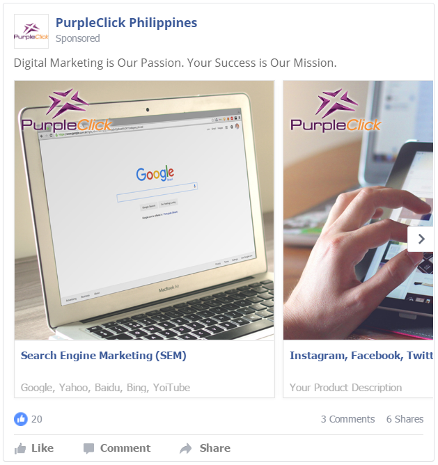 Facebook Carousel Ads: PurpleClick Solutions
