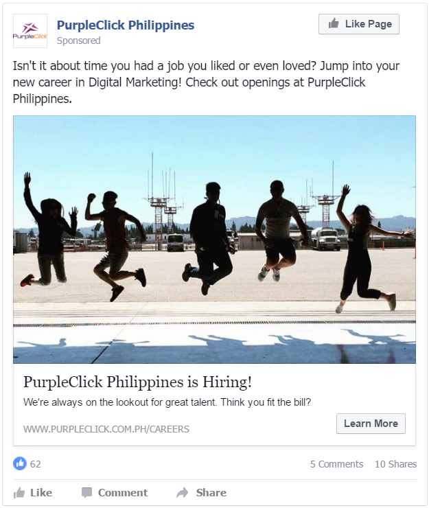 Facebook Photo Ads: PurpleClick Careers