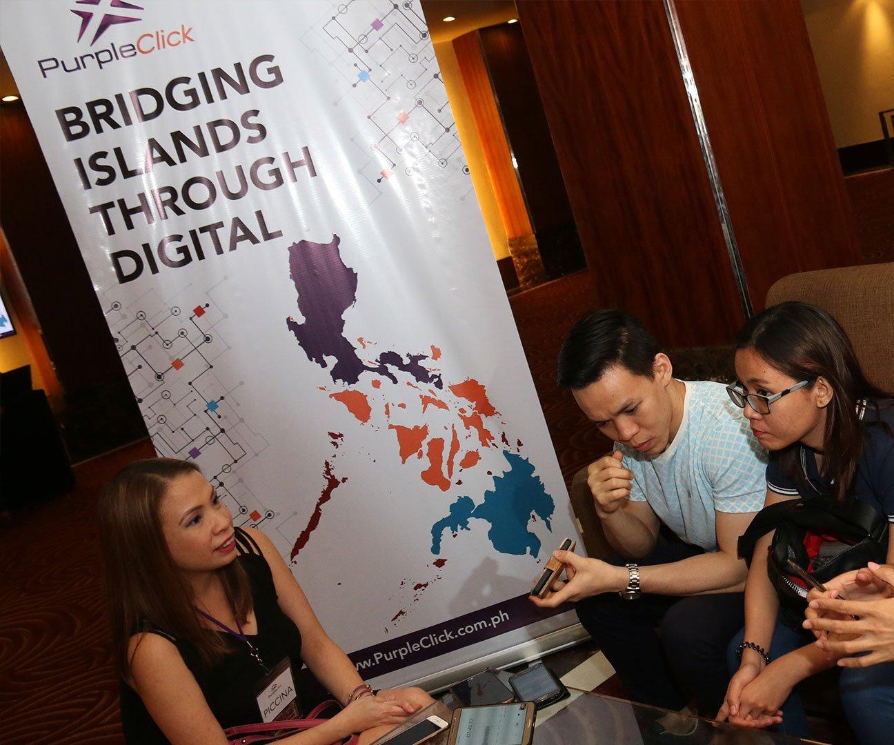PurpleClick Philippines CEO Piccina Alvarez addressing the media
