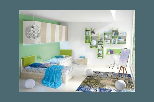 cameretta bianca verde bambini