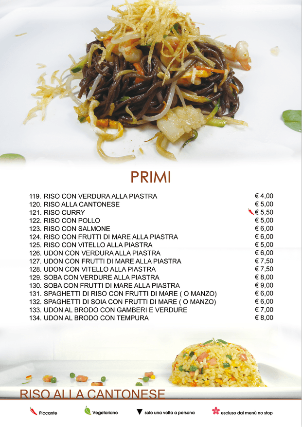 Menu Cena All You Can EAT - Ristorante Cinese e Giapponese Voghera (Pavia)