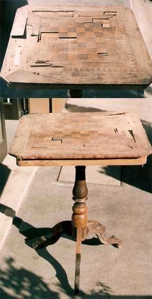 Restauro tavolino con scacchiera