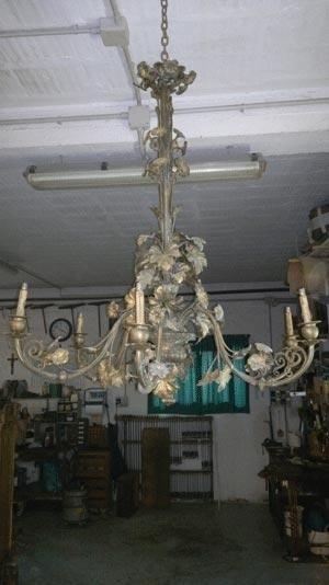 Restauro lampadario in ottone