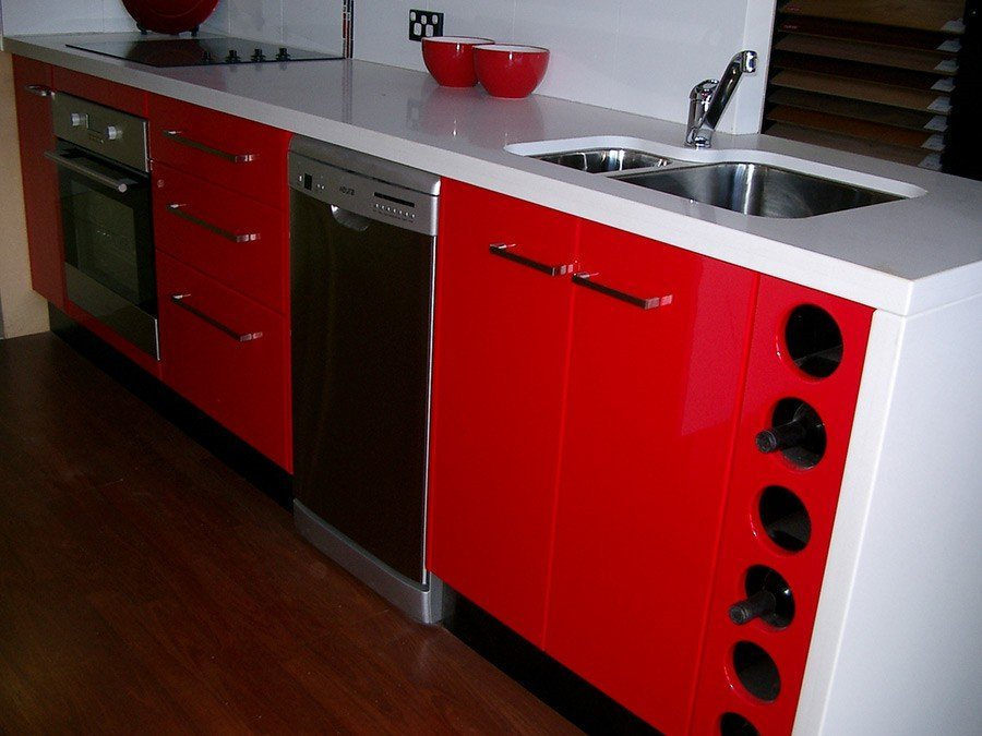 kitchen with red drawers
