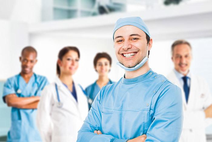 Friendly team of surgeons