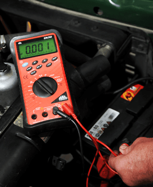 Checking the current running through a car battery