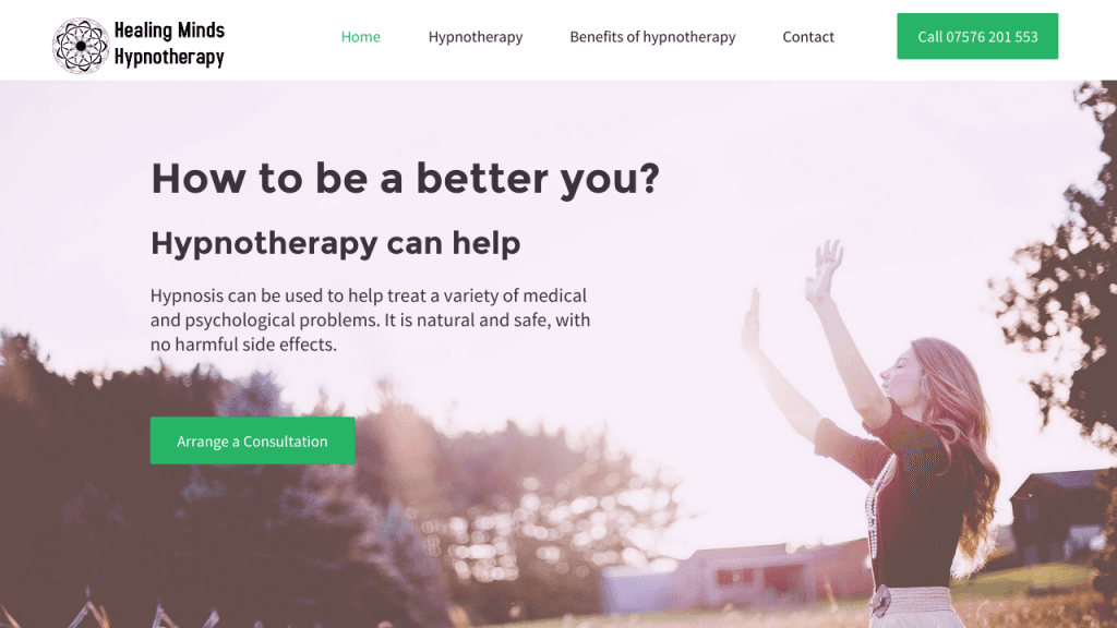 Healing Minds Hypnotherapy Website
