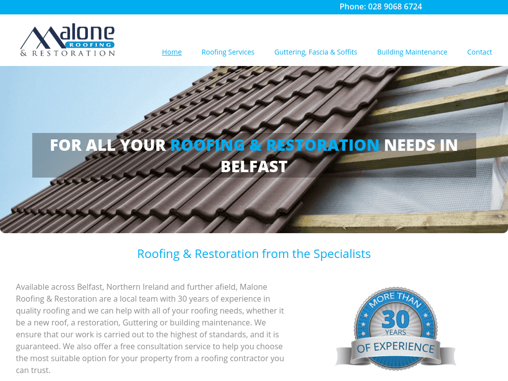 Malone Roofing Responsive website
